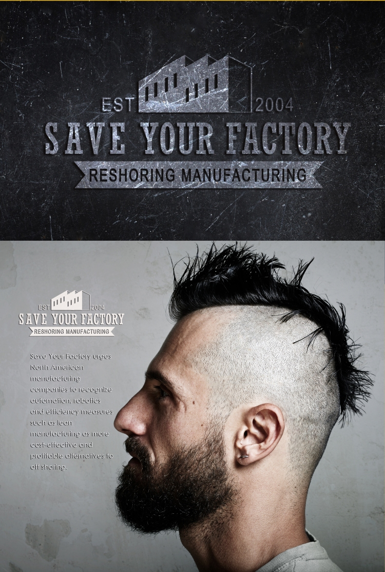Portrait of a bearded man with mohawk. Concrete background